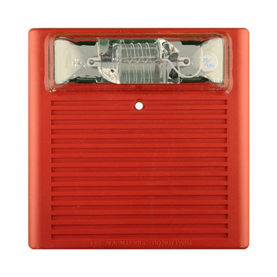 Weatherproof 24VDC Horn Strobe, 75CD, Wall Mount, Red (WPBB-R Backbox Required)