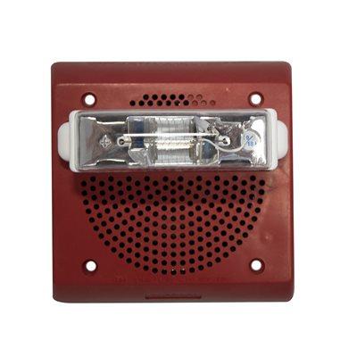 Weatherproof 24VDC Speaker Strobe, 75CD, Wall Mount, Red (IOB Backbox Required)